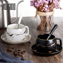 JOUDOO Creative Black&White Ceramic Mug Cup Brief Office Coffee Tea With Spoon Gold Home Set Wholesale TC0012 35
