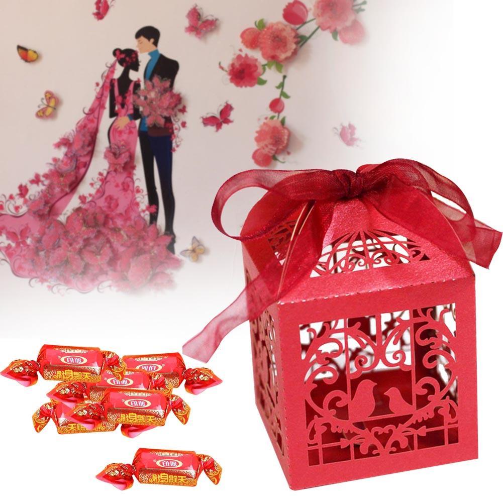 1x Красный Вырезать Сердце Любовь лазерная подарок Коробки конфет Свадебная вечеринка пользу с лентой pjw