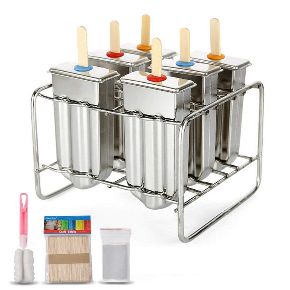 Baffect Stainless Steel Popsicle Mould With Stick Holder Family Ice Cream Mold set of 6 Kitchen Tool box