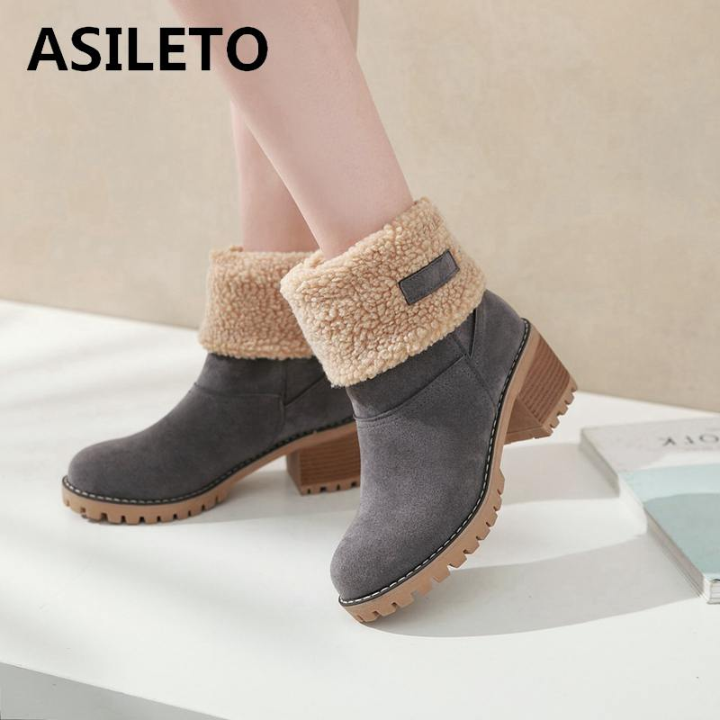 Asileto Women Boots Female Winter Shoes Woman Fur Warm Snow Boots Square Heels Bottines Ankle Boots Platform Botas Mujer B675