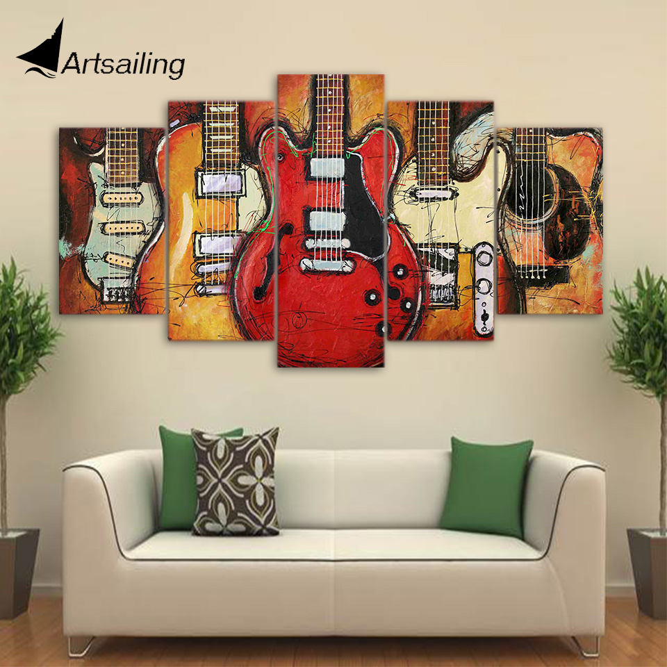 Canvas Paintings Printed 5 Pieces Guitar Abstract Wall Art Canvas Pictures For Living Room Bedroom Home