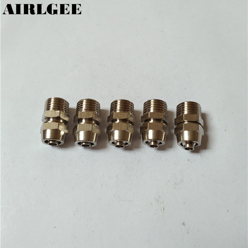 5 Pcs 1/4PT Thread To 8mm x 5mm Air Pneumatic Pipe Connector Adapter 5 pcs 5mm male thread m5 0 8 to 4mm od tube l shape pneumatic fitting elbow quick fittings air connectors