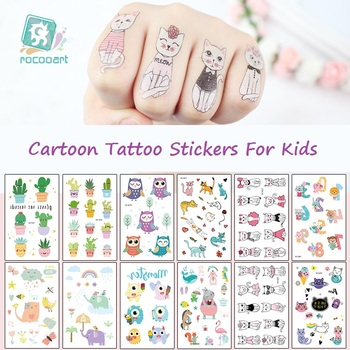 Rocooart Cartoon Tattoo Stickers For Kids Cactus Fake Tatoo Children Tatouage Letters Numbers Tatuajes Cute Monster Taty Body