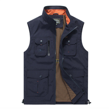 Navy Blue Casual Men Vest Outwear Solid Color Stand Collar Man Sleeveless Jackets High Quality Brand Colete Masculino S-XXXXL