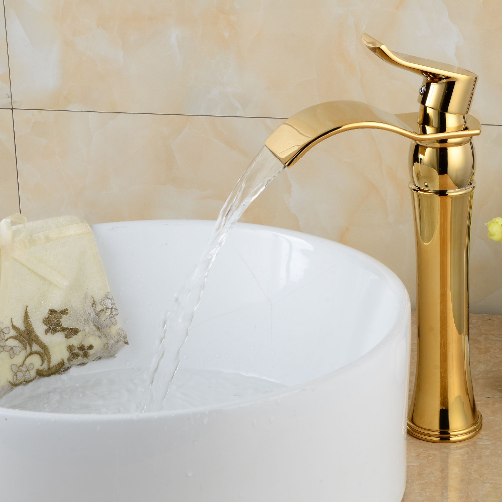 Gold bathroom faucets waterfall bathroom basin faucet gold brass torneira single handle sink mixer tap