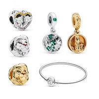 TOP quality 925 Sterling Silver Vintage Lion King style heart Charms golden Bead Fit European brand Charm Bracelet DIY Jewelry