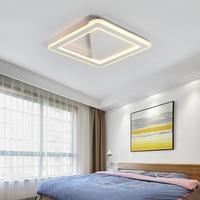 Branco/preto quadrado led lustre de teto para sala estar cama quarto estudo casa deco AC85 265V iluminação lustre moderno|Lustres|   -