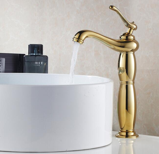 Factory Direct Luxury Golden faucet bathroom hot and cold water sink basin faucets taps mixer bath single handle washbasin tap luxury led light bathroom basin faucet single water waterfall square washbasin mixer tap rgb color changing hot and cold taps