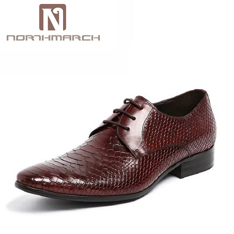 NORTHMARCH Mens Dress Shoes Genuine Leather Black Formal Business Male Shoes Sapato Social Pointed Toe Cowhide Leather Shoes pointed metal toe mens shoes formal design patchwork men leather shoes with crystal hoops spring autumn sapato masculino social