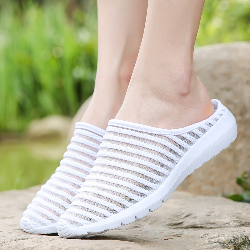 2018 Women Sandals Summer Shoes Half Slippers Flip Flops Mesh Breathable Shoes Sandals Clogs Shoes Woman Platform Big Size 35-40 3