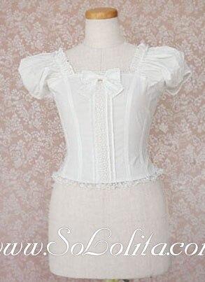Lolita manches bouffantes douces noeud papillon chemisier blanc pur