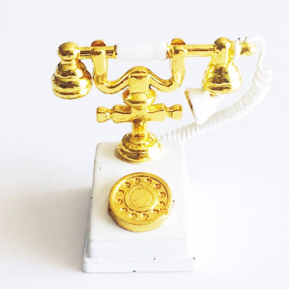 medium resolution of 1 12 antique phone dollhouse miniature old fashion phone vintage home wired telephone furniture for doll house accessory in figurines miniatures from home