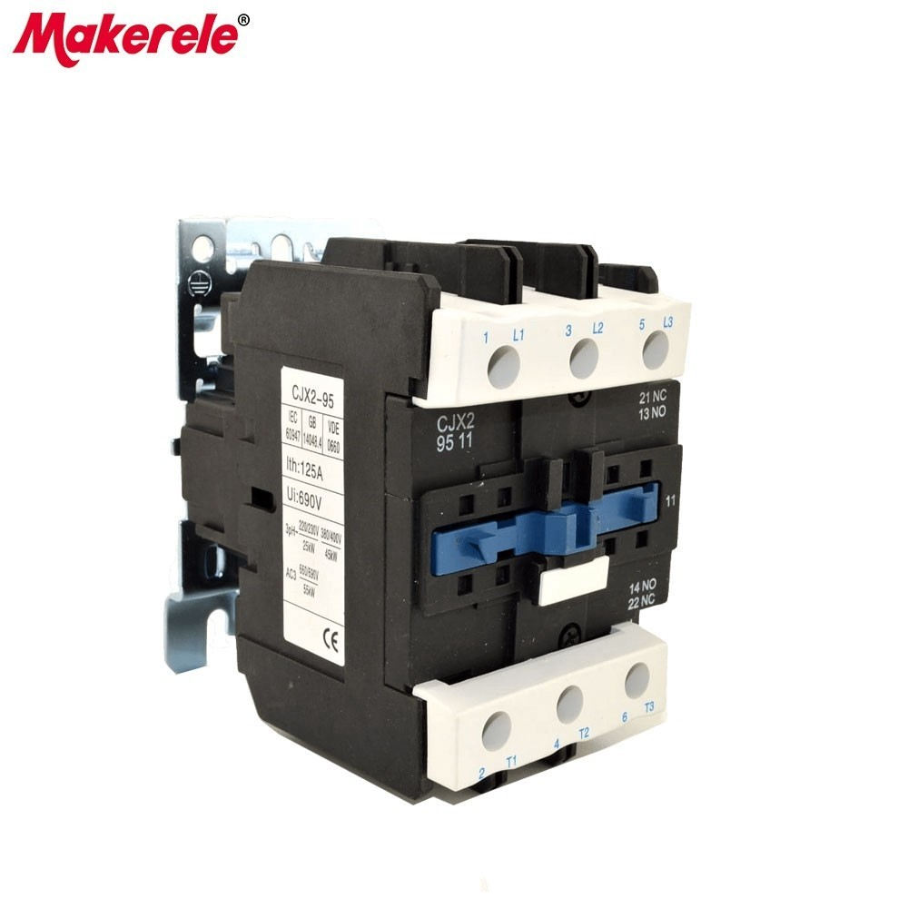 CJX2-9511 AC Contactor LC1 95A 3 Phase 3-Pole 220V 380V 110V 36V 24V 50/60Hz Din Rail Mounted AC Contactor
