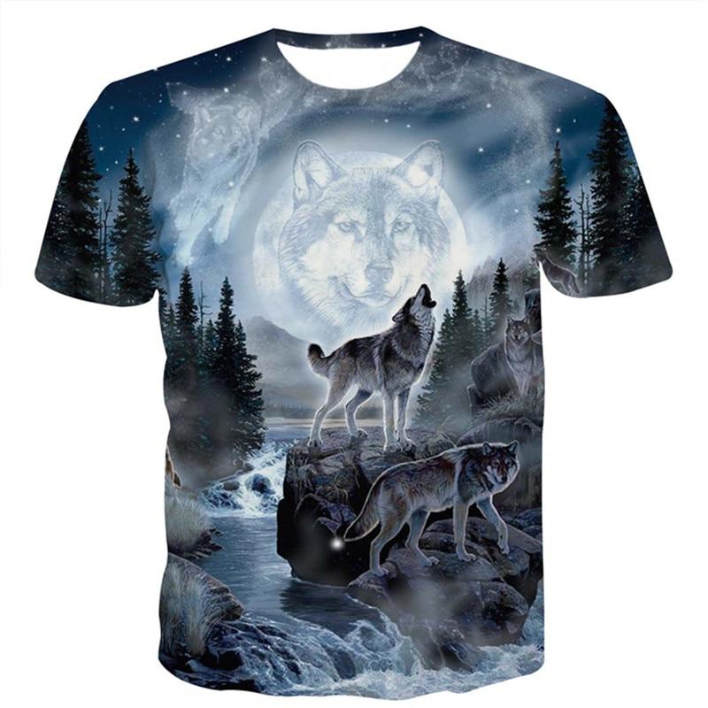 Space Galaxy Wolf   T     Shirt   Men 2018 Summer New Casual 3D   T     Shirts   Mens Harajuku Hiphop Short Sleeve   T  -  shirt   Male Camisetas Hombre
