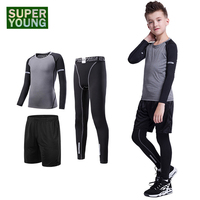 Football Children Fitness Clothing Kids Gym Wear Running Tracksuit Men Training Tights Jogging Suits Boys Sports Compression Set