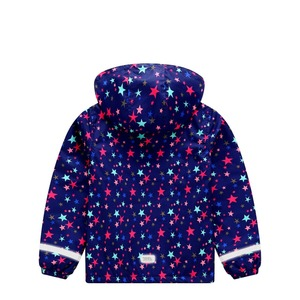 Image 4 - Spring Autumn Waterproof Stars Print Fleece Child Coat Baby Girls Jackets Children Outerwear Kids Outfits For 3 12 Years Old