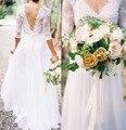 2017 sexy v-образным вырезом необеспеченные кружева свадебное платье рукава v-образным вырезом белого шифона платье нестандартного размера в TE4747 невесты свадебное платье