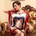 Women Faux Silk Bathrobe 2016 Summer Style Sleepwear Plus Size Nightgown Night Dress Hot