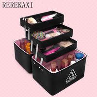 Multi Layer Professional Lady S Makeup Box High Quality PU High Capacity Cosmetic Case Travel
