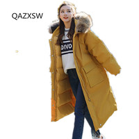 2018 Winter Women's New Cotton Coat Large Fur Collar Hooded Loose Outer Thick Warm Over The Knee Jacket Dq099