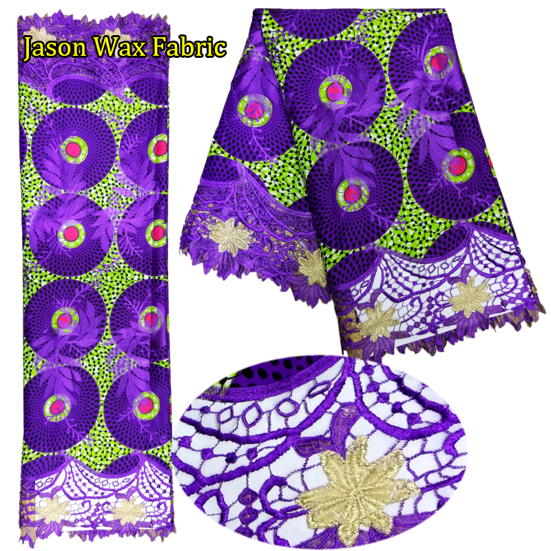 2017 new arrival ankara lace fabric 6yards African Polyester Wax Lace Fabrics 6Yards For Sewing Super Wax Hollandais lace LBL