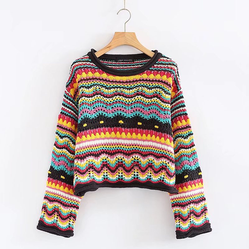 Vintage Sweet Multicolored Yarn Short Knit Sweater Women 2018 New Fashion O Neck Long Sleeve Ladies Pullovers Casual Pull Femme