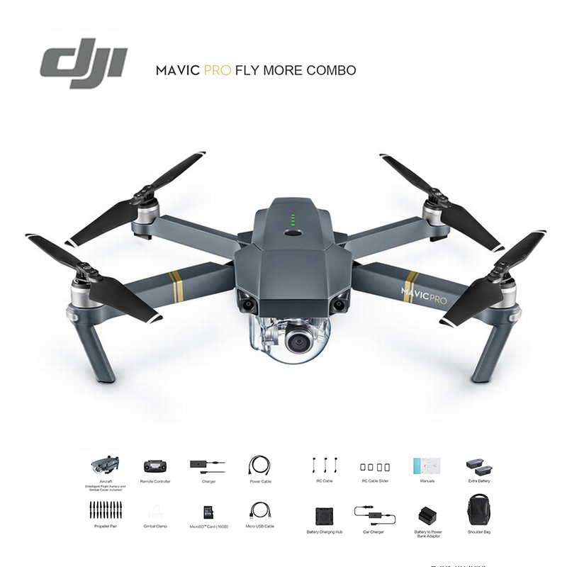 DJI Mavic Pro Fly More Combo Drone 1080P Camera 4K Video RC Helicopter FPV Quadcopter Official Authorized Distributer Original dji mavic pro rc helicopter drone gimbal stabilized 4k camera selfie fpv gps quadcopter vs zero dobby dji phantom 4