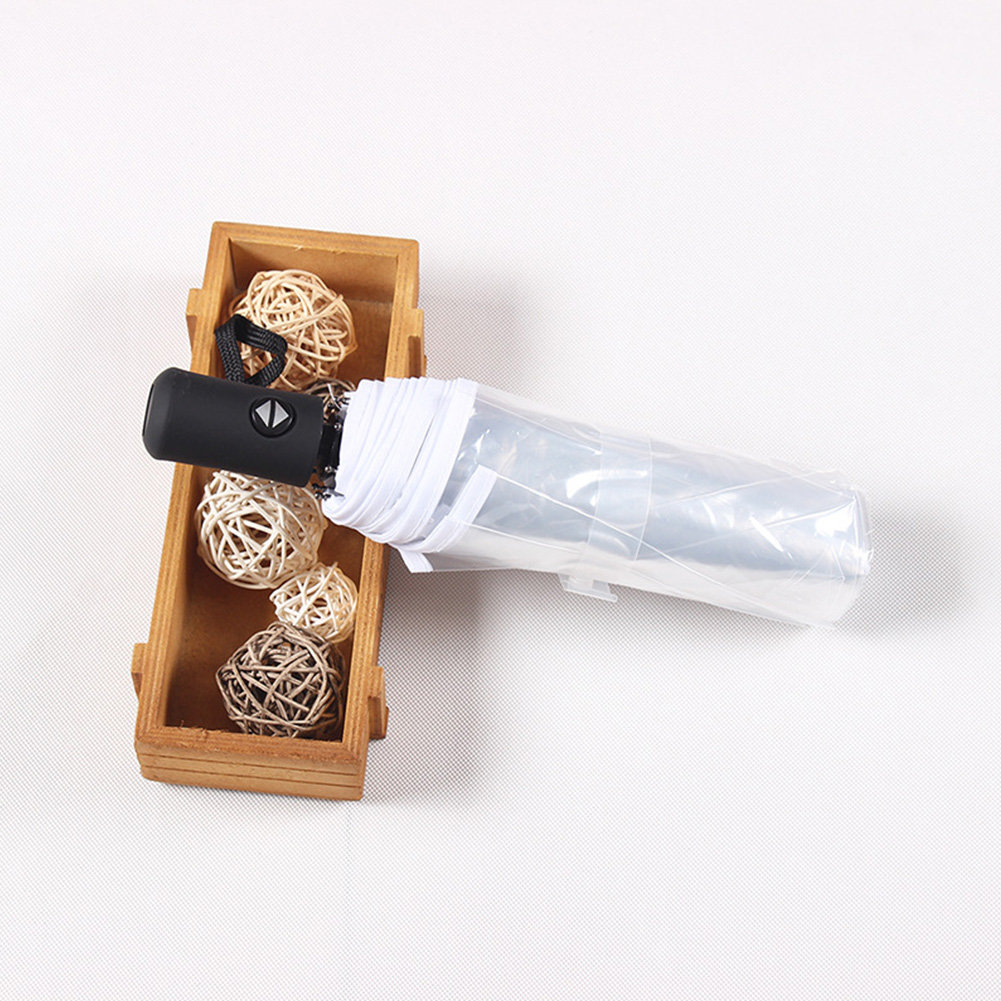 Eight Bones Romantic Color Edge Transparent Sunshade Automatic Umbrella Triple Folding Compact Ultra Light Wedding Windproof