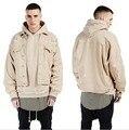 Новый осень зима мужчины хип-хоп верблюд с капюшоном куртки и пальто весте homme мужская kanye west yeezy носить отверстие джинсы куртка