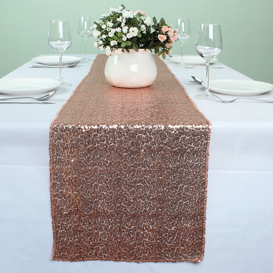 Favorite 12 x 132 Inch ROSE GOLD Sequin Table Runners For Wedding Event  QM69