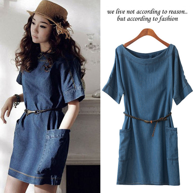 58525c5aa04f401 Платье деним свободного покроя Mini короткая, женская с круглым вырезом  длинными рукавами без тары джинсы