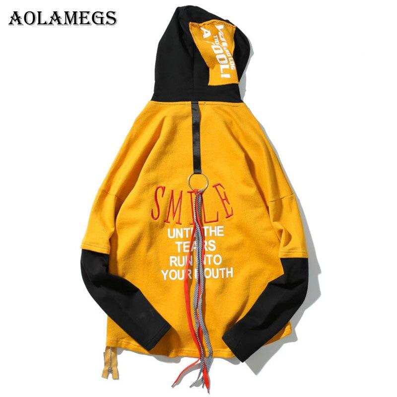 Aolamegs Толстовки Для мужчин Ленты буквы стороны молнии капюшоном Пара пуловер скейтборд Мода хип-хоп уличной Повседневное балахон бренд