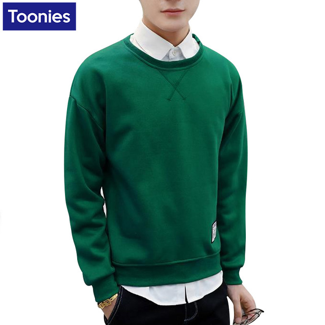 For Autumn Man's New Slim Sweatshirts Solid Color Long Sleeved O-neck Men Pullover Shirts Male 2017 Fashion Top Sweatshirts Slim