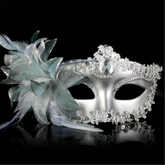 9 Color Sexy Diamond Venetian Mask Venice Feather Flower Wedding Carnival Party Performance Costume Sex Lady Mask Masquerade Hot 4
