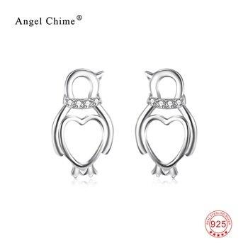 925 כסף אוהב את לב עגילי קריסטל CZ פינגווין מקסים מתנת תכשיטים לנשים