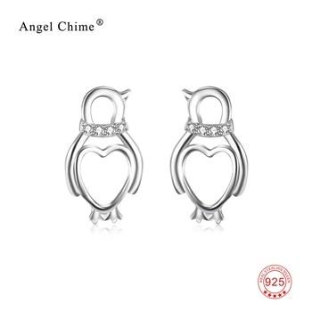 925 Sterling Silver Love Heart Penguin Lovely Stud Earrings Crystal CZ Jewelry Gift For Women
