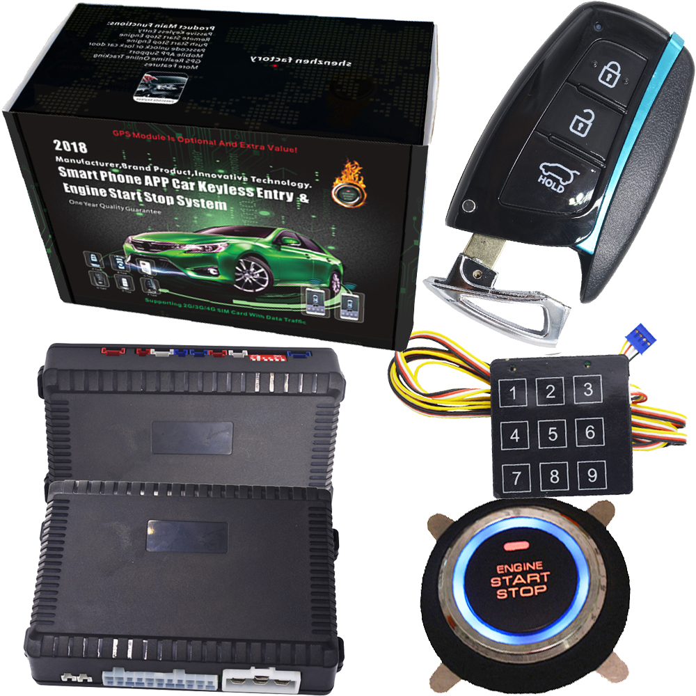 English Russian and portuguese Anti-Theft pke car alarm system kit with remote engine start stop and password entry easyguard pke car alarm system remote engine start stop shock sensor push button start stop window rise up automatically