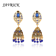 JAVRICK Ethnic Earrings Carved India Blue Rhinestone Dazzling Luxury Women Jewelry Charms Vintage Hollow Exquisite Decoration