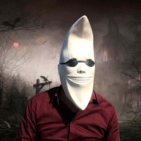Creative Halloween Adult Full Face Party Masks Cool Glasses White Face Breathable Latex Ghost Mask Dress