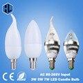 O envio gratuito de 220 V 230 V 240 V levou luz de velas 3 W 5 W 7 W E14 LEVOU tubo da lâmpada do teto do candelabro lâmpada led Branco candle light