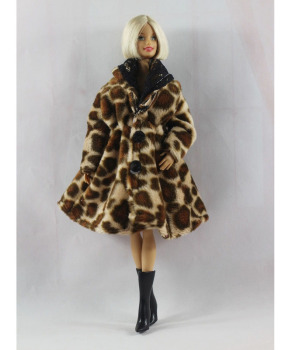 Fashion Leopard Winter Fur Coat For Barbie Dolls Clothes Long Dress Vestido Coat For 1/6 BJD Doll Accessories