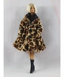 Модное леопардовое зимнее меховое пальто для кукол Барби, длинное платье, пальто для 1/6, аксессуары для кукол BJD