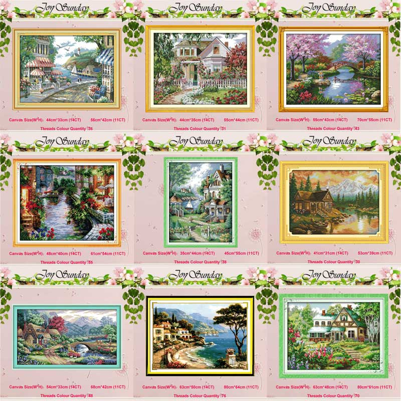 Leisurely Cabin House Scenery Counted 11CT 14CT Cross Stitch Set DIY DMC Cross-stitch Kit Embroidery Needlework Home Decor