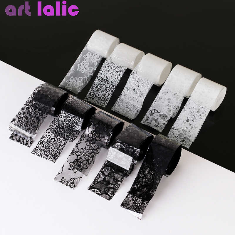 10 Rolls 2.5*60cm New Black White Lace Transfer Foil Nail Art Sexy Full Wraps Flower Glue Adhesive DIY Manicure Styling Tools