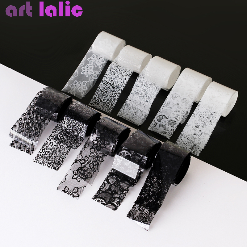 10 Rolls 2.5*100cm New Black White Lace Transfer Foil <font><b>Nail</b></font> Art <font><b>Sexy</b></font> Full Wraps Flower Glue Adhesive DIY Manicure Styling Tools image