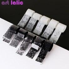 10 rolos 2.5*60cm novo preto branco laço folha de transferência arte do prego sexy completa envolve cola de flor adesivo diy manicure ferramentas estilo
