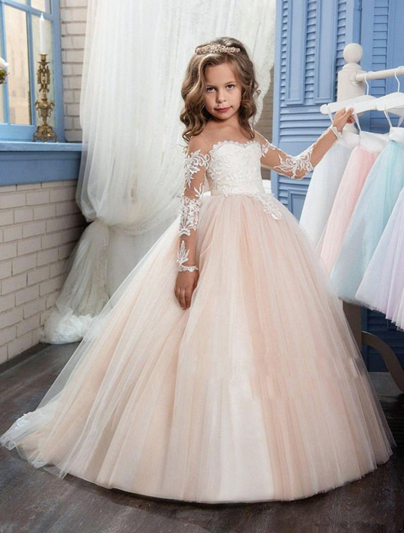 New Ivory Puffy Lace Flower Girl Dress Weddings Long Sleeves Ball Gown Kids Party Communion Pageant Gown Vestidos 0-16Y ball gown sky blue open back with long train ruffles tiered crystals flower girl dress party birthday evening party pageant gown