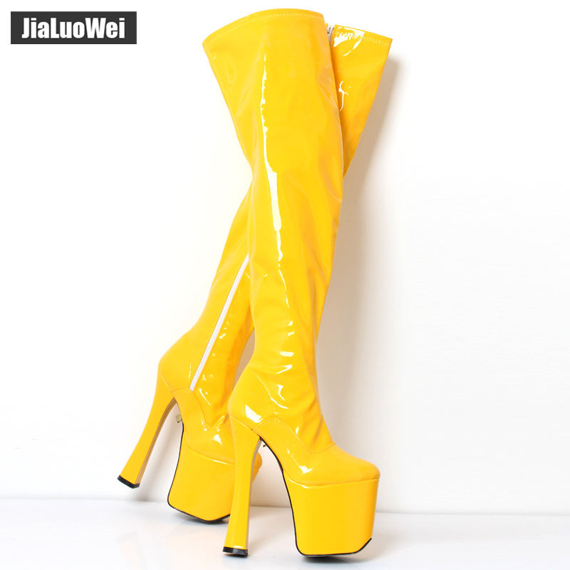 jialuowei Sexy 20cm /8 inch high heel Over the knee Stiefel boots Women 9cm platform thigh high boots plus size 44 45 46
