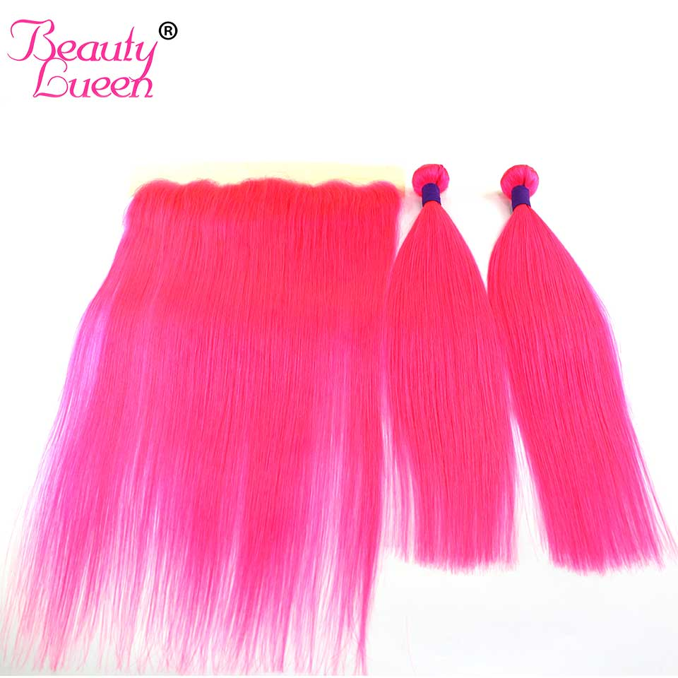 Pre Colored Ombre Pink Brazilian Straight Remy Human Hair Weave 3 Bundles Deal With Ear To Ear Pre Plucked Lace Frontal Closure