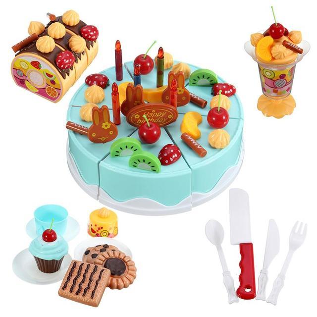 Pretend Play Cutting Birthday Cake Kitchen Toy Children Kids Plastic Play Kitchen Sets Best Gifts 75pcs/set